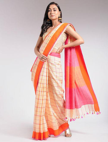 Ivory Orange linen saree Sarees & Stoles The Neem Tree Sonal Kabra Buy Shop online premium luxury fashion clothing natural fabrics sustainable organic hand made handcrafted artisans craftsmen
