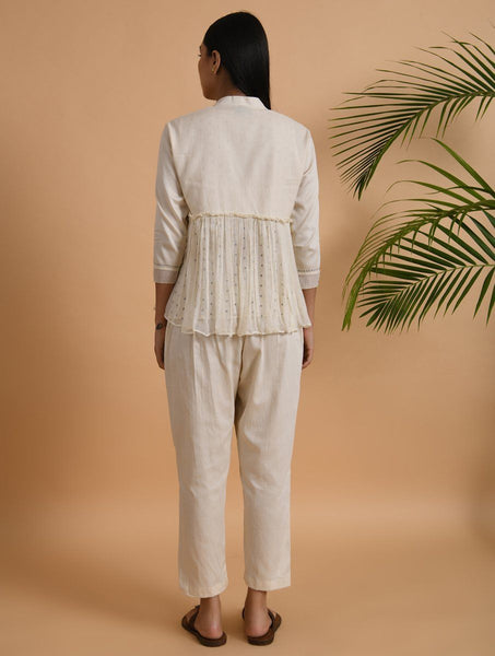 Ivory Pants Pants The Neem Tree Sonal Kabra Buy Shop online premium luxury fashion clothing natural fabrics sustainable organic hand made handcrafted artisans craftsmen