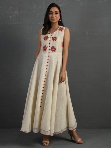 Ivory Polka Hand Embroidered Sleeveless Kurta Kurta Sonal Kabra Sonal Kabra Buy Shop online premium luxury fashion clothing natural fabrics sustainable organic hand made handcrafted artisans craftsmen