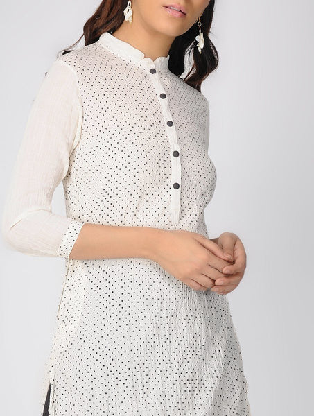 Ivory polka kurta Kurta The Neem Tree Sonal Kabra Buy Shop online premium luxury fashion clothing natural fabrics sustainable organic hand made handcrafted artisans craftsmen