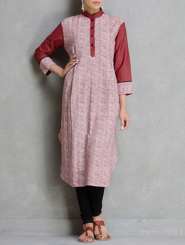 Maroon print kurta Kurta The Neem Tree Sonal Kabra Buy Shop online premium luxury fashion clothing natural fabrics sustainable organic hand made handcrafted artisans craftsmen
