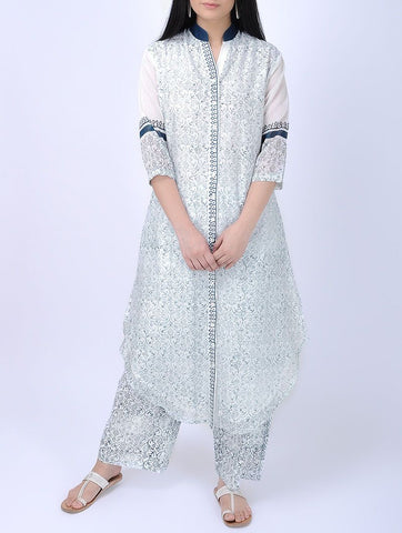 Ocean blue front open kurta Kurta Sonal Kabra Sonal Kabra Buy Shop online premium luxury fashion clothing natural fabrics sustainable organic hand made handcrafted artisans craftsmen