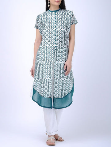 Ocean blue kurta Kurta Sonal Kabra Sonal Kabra Buy Shop online premium luxury fashion clothing natural fabrics sustainable organic hand made handcrafted artisans craftsmen