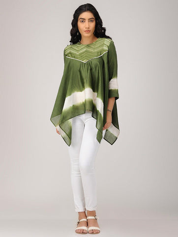 Olive drape top Top Sonal Kabra Sonal Kabra Buy Shop online premium luxury fashion clothing natural fabrics sustainable organic hand made handcrafted artisans craftsmen