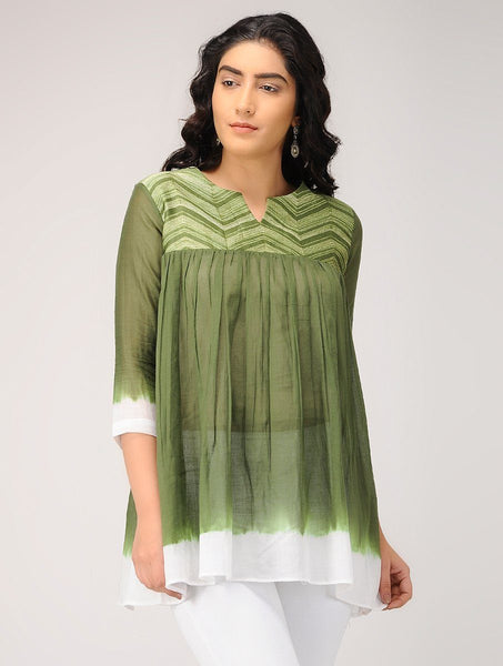 Olive gather top Top Sonal Kabra Sonal Kabra Buy Shop online premium luxury fashion clothing natural fabrics sustainable organic hand made handcrafted artisans craftsmen