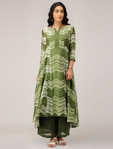 Olive shibori dress (Set of 2) Dress Sonal Kabra Sonal Kabra Buy Shop online premium luxury fashion clothing natural fabrics sustainable organic hand made handcrafted artisans craftsmen