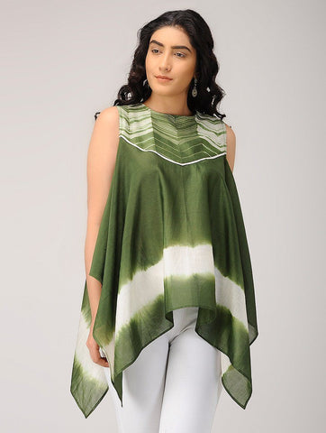 Olive waterfall top Top Sonal Kabra Sonal Kabra Buy Shop online premium luxury fashion clothing natural fabrics sustainable organic hand made handcrafted artisans craftsmen