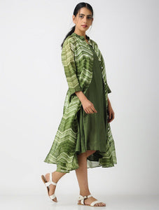 Olive zigzag shibori dress (Set of 2) Jacket dress Sonal Kabra Sonal Kabra Buy Shop online premium luxury fashion clothing natural fabrics sustainable organic hand made handcrafted artisans craftsmen