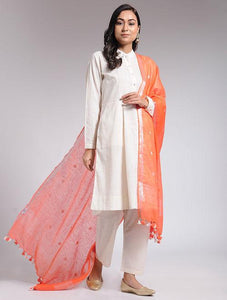 Orange linen dupatta Sarees & Stoles The Neem Tree Sonal Kabra Buy Shop online premium luxury fashion clothing natural fabrics sustainable organic hand made handcrafted artisans craftsmen