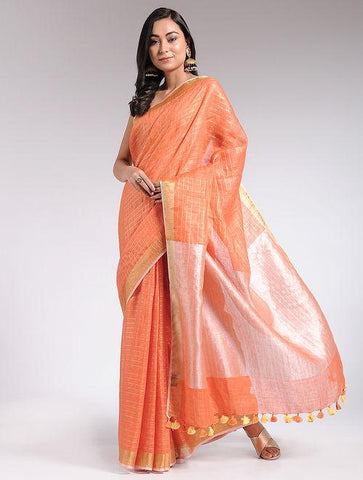 Orange linen saree Sarees & Stoles The Neem Tree Sonal Kabra Buy Shop online premium luxury fashion clothing natural fabrics sustainable organic hand made handcrafted artisans craftsmen