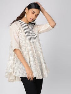 Pin tucked cotton top Top The Neem Tree Sonal Kabra Buy Shop online premium luxury fashion clothing natural fabrics sustainable organic hand made handcrafted artisans craftsmen