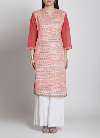 Pink block print kurta Kurta Sonal Kabra Sonal Kabra Buy Shop online premium luxury fashion clothing natural fabrics sustainable organic hand made handcrafted artisans craftsmen