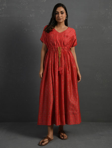 Pink Block Printed Handwoven Chanderi Kurta Dress The Neem Tree Sonal Kabra Buy Shop online premium luxury fashion clothing natural fabrics sustainable organic hand made handcrafted artisans craftsmen