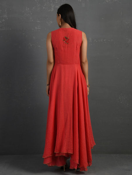 Pink Hand Embroidered Sleeveless Kurta Kurta Sonal Kabra Sonal Kabra Buy Shop online premium luxury fashion clothing natural fabrics sustainable organic hand made handcrafted artisans craftsmen