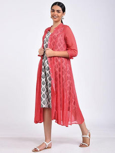 Pink kali dress Jacket dress The Neem Tree Sonal Kabra Buy Shop online premium luxury fashion clothing natural fabrics sustainable organic hand made handcrafted artisans craftsmen