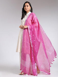 Pink linen dupatta Sarees & Stoles The Neem Tree Sonal Kabra Buy Shop online premium luxury fashion clothing natural fabrics sustainable organic hand made handcrafted artisans craftsmen