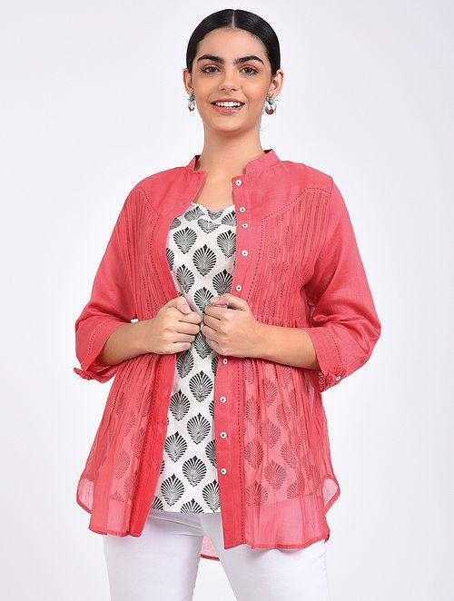 Pink pin tuck shirt Top The Neem Tree Sonal Kabra Buy Shop online premium luxury fashion clothing natural fabrics sustainable organic hand made handcrafted artisans craftsmen
