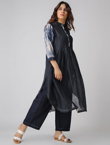Pintuck shibori kurta-Indigo Kurta Sonal Kabra Sonal Kabra Buy Shop online premium luxury fashion clothing natural fabrics sustainable organic hand made handcrafted artisans craftsmen
