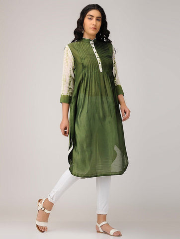 Pintuck shibori kurta Kurta Sonal Kabra Sonal Kabra Buy Shop online premium luxury fashion clothing natural fabrics sustainable organic hand made handcrafted artisans craftsmen
