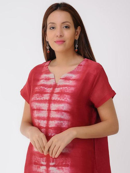 Pleated shibori dress Dress Sonal Kabra Sonal Kabra Buy Shop online premium luxury fashion clothing natural fabrics sustainable organic hand made handcrafted artisans craftsmen