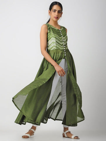 Princessline kurta-Olive Jacket dress Sonal Kabra Sonal Kabra Buy Shop online premium luxury fashion clothing natural fabrics sustainable organic hand made handcrafted artisans craftsmen