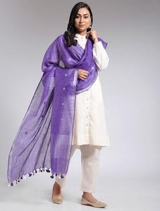 Purple linen dupatta Sarees & Stoles The Neem Tree Sonal Kabra Buy Shop online premium luxury fashion clothing natural fabrics sustainable organic hand made handcrafted artisans craftsmen