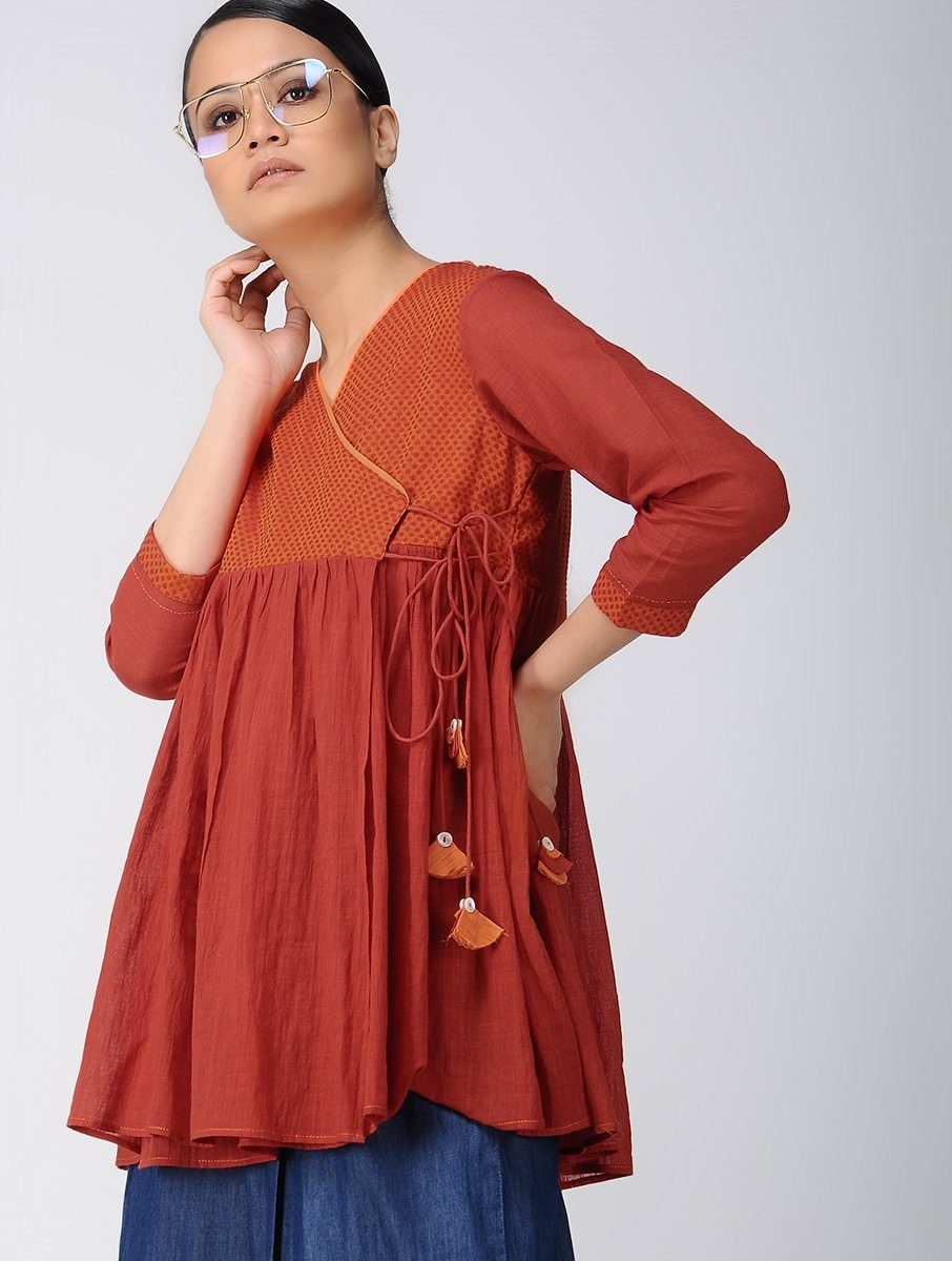 Red angarakha top Top The Neem Tree Sonal Kabra Buy Shop online premium luxury fashion clothing natural fabrics sustainable organic hand made handcrafted artisans craftsmen