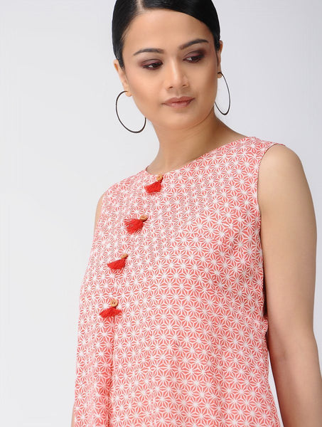 Red blockprint waterfall dress Dress The Neem Tree Sonal Kabra Buy Shop online premium luxury fashion clothing natural fabrics sustainable organic hand made handcrafted artisans craftsmen