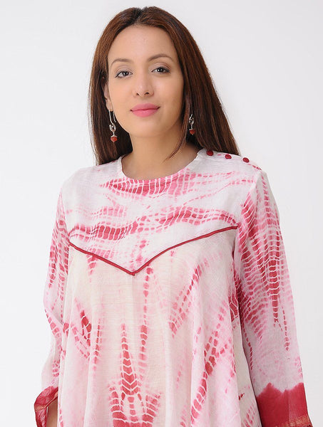 Red chanderi drape top Top Sonal Kabra Sonal Kabra Buy Shop online premium luxury fashion clothing natural fabrics sustainable organic hand made handcrafted artisans craftsmen