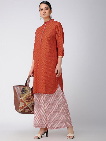 Red Cotton Kurta Kurta The Neem Tree Sonal Kabra Buy Shop online premium luxury fashion clothing natural fabrics sustainable organic hand made handcrafted artisans craftsmen