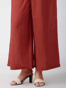 Red cotton palazzo Palazzo The Neem Tree Sonal Kabra Buy Shop online premium luxury fashion clothing natural fabrics sustainable organic hand made handcrafted artisans craftsmen