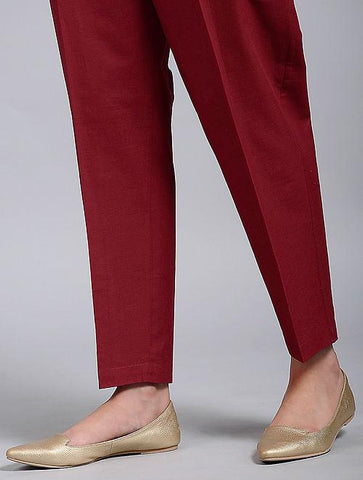 Red cotton pants Pants The Neem Tree Sonal Kabra Buy Shop online premium luxury fashion clothing natural fabrics sustainable organic hand made handcrafted artisans craftsmen