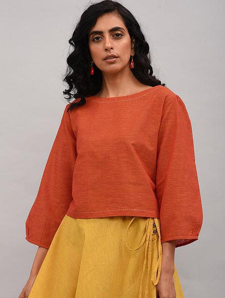 Red Cotton Top Top The Neem Tree Sonal Kabra Buy Shop online premium luxury fashion clothing natural fabrics sustainable organic hand made handcrafted artisans craftsmen