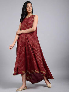 Red gold flared dress Dress The Neem Tree Sonal Kabra Buy Shop online premium luxury fashion clothing natural fabrics sustainable organic hand made handcrafted artisans craftsmen
