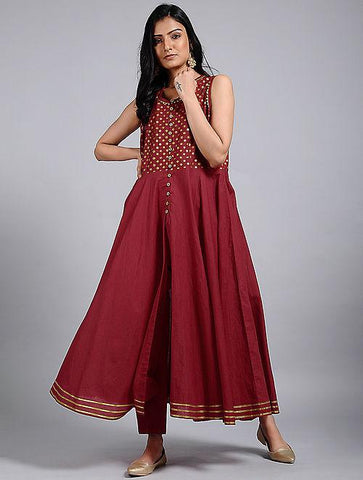Red gold flared Kurta Jacket dress The Neem Tree Sonal Kabra Buy Shop online premium luxury fashion clothing natural fabrics sustainable organic hand made handcrafted artisans craftsmen