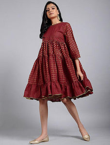 Red gold gather dress Dress The Neem Tree Sonal Kabra Buy Shop online premium luxury fashion clothing natural fabrics sustainable organic hand made handcrafted artisans craftsmen