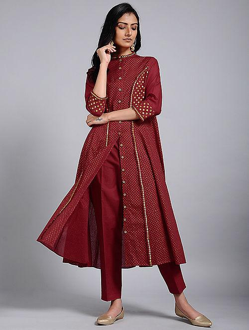 Red gold kali dress Jacket dress The Neem Tree Sonal Kabra Buy Shop online premium luxury fashion clothing natural fabrics sustainable organic hand made handcrafted artisans craftsmen