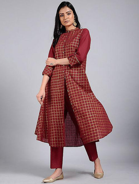 Red gold kurta Jacket dress The Neem Tree Sonal Kabra Buy Shop online premium luxury fashion clothing natural fabrics sustainable organic hand made handcrafted artisans craftsmen