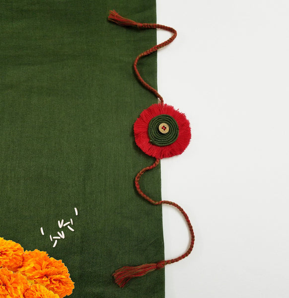 Red Green Flower Rakhi Rakhi The Neem Tree Sonal Kabra Buy Shop online premium luxury fashion clothing natural fabrics sustainable organic hand made handcrafted artisans craftsmen
