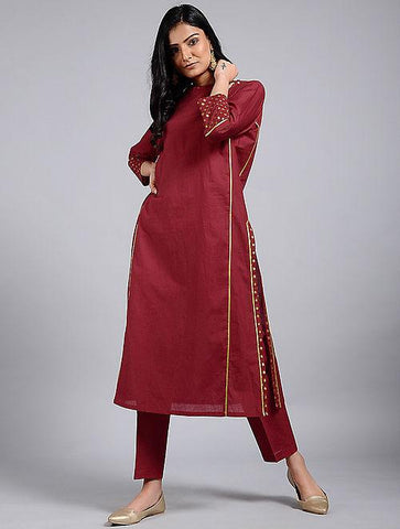 Red keyhole neckline dress Kurta The Neem Tree Sonal Kabra Buy Shop online premium luxury fashion clothing natural fabrics sustainable organic hand made handcrafted artisans craftsmen