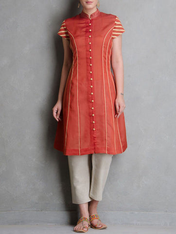 Red princess line dress Kurta Sonal Kabra Sonal Kabra Buy Shop online premium luxury fashion clothing natural fabrics sustainable organic hand made handcrafted artisans craftsmen