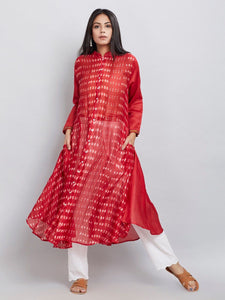 Red shibori dress Dress Sonal Kabra Sonal Kabra Buy Shop online premium luxury fashion clothing natural fabrics sustainable organic hand made handcrafted artisans craftsmen