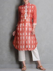 Red shibori kurta Kurta Sonal Kabra Sonal Kabra Buy Shop online premium luxury fashion clothing natural fabrics sustainable organic hand made handcrafted artisans craftsmen