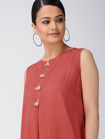 Red waterfall dress Dress The Neem Tree Sonal Kabra Buy Shop online premium luxury fashion clothing natural fabrics sustainable organic hand made handcrafted artisans craftsmen
