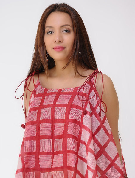 Red window spaghetti top Top Sonal Kabra Sonal Kabra Buy Shop online premium luxury fashion clothing natural fabrics sustainable organic hand made handcrafted artisans craftsmen