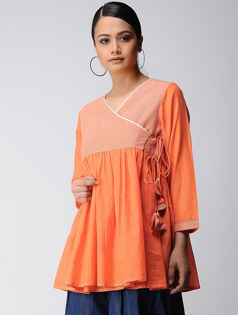 Saffron angarakha top Top The Neem Tree Sonal Kabra Buy Shop online premium luxury fashion clothing natural fabrics sustainable organic hand made handcrafted artisans craftsmen
