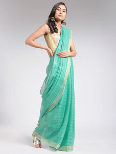 Sea blue linen saree Sarees & Stoles The Neem Tree Sonal Kabra Buy Shop online premium luxury fashion clothing natural fabrics sustainable organic hand made handcrafted artisans craftsmen