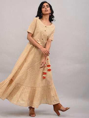 Set of 2 - Beige top with skirt Set The Neem Tree Sonal Kabra Buy Shop online premium luxury fashion clothing natural fabrics sustainable organic hand made handcrafted artisans craftsmen