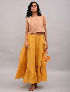 Set of 2 - Beige top with yellow skirt Set The Neem Tree Sonal Kabra Buy Shop online premium luxury fashion clothing natural fabrics sustainable organic hand made handcrafted artisans craftsmen