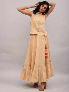 Set of 2 - Gathered top with skirt Set The Neem Tree Sonal Kabra Buy Shop online premium luxury fashion clothing natural fabrics sustainable organic hand made handcrafted artisans craftsmen